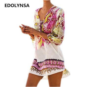 New Arrivals Beach Caftan Swimsuit Cover up Print Chiffon Pareo Women Robe Plage Swimwear Dress Sexy Sarong Beach Tunic #Q152