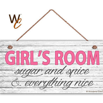 """GIRL'S ROOM Sign, Sugar and Spice, Girl's Room Decor, Nursery, Girl's Door Sign, 5"""" x 10"""" Sign, Room Plaque, Birthday Gift,  Made To Order"""