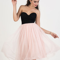 Color Block Strapless Lace Overlay Tulle Panel Midi Dress
