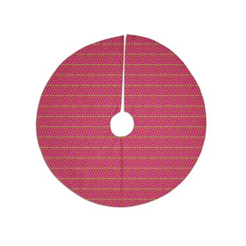"Julie Hamilton ""Woven Red"" Pink Tree Skirt"