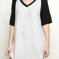 Black and White Striped Short Sleeve Mini Summer Baseball Dress
