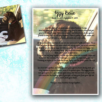 Custom Rainbow Bridge Print - Rainbow Bridge - Pet Memorial - Pet Remembrance - Rainbow Bridge Gift - personalized pet gift