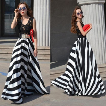 Sexy Women Summer Boho Long Maxi Evening Party Dress Beach Dresses Chiffon Dress = 1946859268