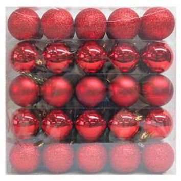 50ct 70mm Red Shatterproof Christmas Ornament Set - Wondershop™
