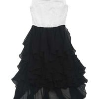 2015 Tween Little Black Ruffles & Pearls Dress Preorder 7 to 16 Years