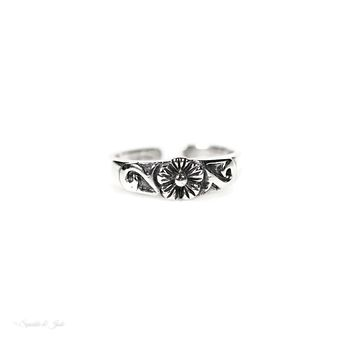 Sterling Silver Plumeria Flower Swirl Toe Ring
