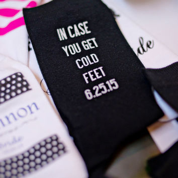 Mens Black Wedding Socks, Grooms Socks Just 'in case you get cold feet' Funny Wedding Gift Ideas, Personalized Wedding Attire Accessory
