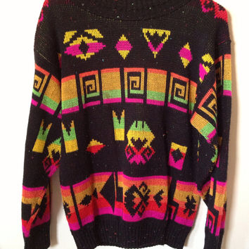 Psychedelic Neon Cosby Sweater Medium