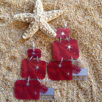 Starbucks Gift Card Earrings UpCycled // Holiday Tree Gift Card UpCycled Earrings // Red Earrings