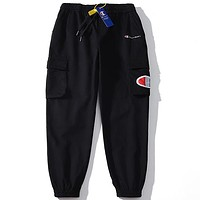 Champion tide brand men's and women's double pocket loose overalls Black