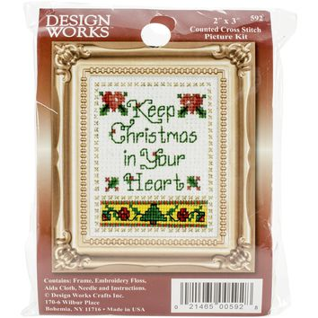 "Christmas In Your Heart Ornament Counted Cross Stitch Kit-2""X3"""
