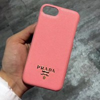 PRADA Classic Fashion Simple Mobile Phone Cover Case For iphone 6 6s 6plus 6s-plus 7 7plus 8 8plus X XSMax XR Pink