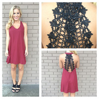 Burgundy Lace Trim Back Dress