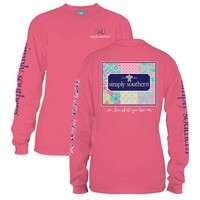 "Youth Simply Southern Long Sleeve Tee - "" Patchwork"""