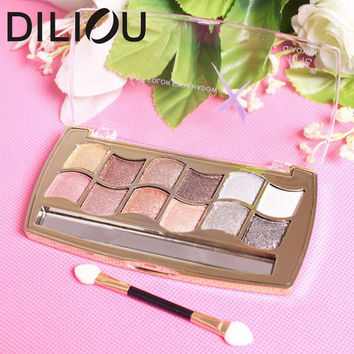 2016 12 colors diamond bright colorful eye shadow super flash paleta de maquiagem Glitter eyeshadow pallete with brush makeup