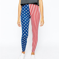 Stars And Stripes Flag Printed Leggings Pants