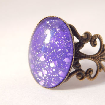 Moon Dust Mood Ring - Electric Violet to Lavender Purple (Medium) - Mood Ring - Mood Rings - Mood Jewelry - Filigree Rings - Purple