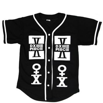 Dimepiece - Black DIMEPIECE Baseball Button-Up Jersey - Dimepiece, T-Shirts - KNYEW Clothing Boutique