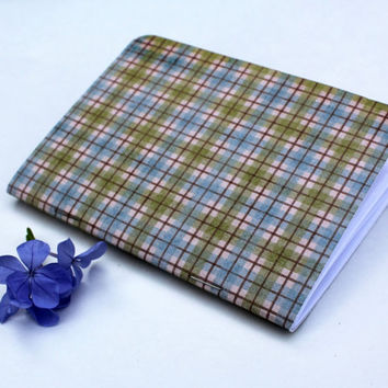 Blue Green Plaid Traveler's Notebook Journal Stationary Planner Insert Blank Pages Sketchbook