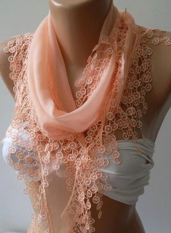 Salmon Pink /Cotton/ Traditional Turkish fabric / Anatolian Shawl/Scarf--