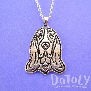 Basset Hound Dog Portrait Pendant Necklace in Silver | Animal Jewelry