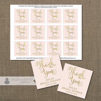"Blush Pink & Gold Glitter Favor Tags Bridal Shower Labels Thank You Tags 2.25"" Square Pastel Pink and Gold DIY Printable or Printed- Mila"