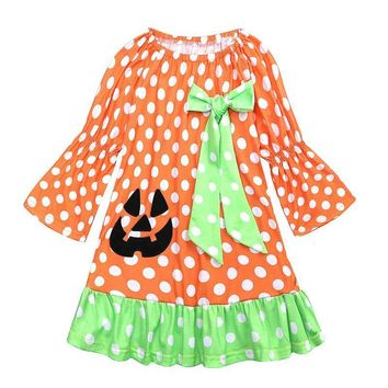 New Girls Dresses Children Pumpkin Princess Dresses Dot Long Sleeve Rapunzel Aurora Party Halloween Costume Brand Kids Dress