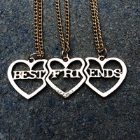 Best Friends Necklace, Best Bitches Jewelry, BFF necklace, Split Heart Necklace, Best Friend Forever Christmas Gift
