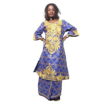 H&D 2017 New all african fashion design african women clothing traditional bazin riche material embroidery dress suit skirt set