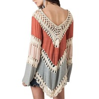 Womens Summer Beach Sexy Mini Linen Short Lace See-Through Crochet Tunic Patchwork Dress