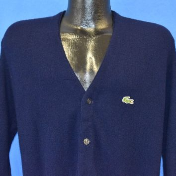 70s Izod Lacoste Navy Blue Cardigan Sweater Large
