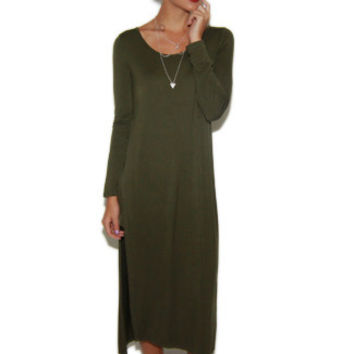 Hollander L/S High Slit Maxi Dress in Olive