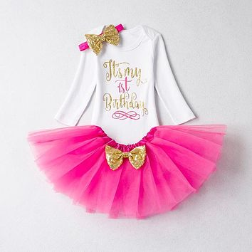 Autumn Baby Girl First Birthday Party Tutu Dresses for Toddlers Vestido Infantil Princess Clothes 1 Year Girls Baptism Clothing