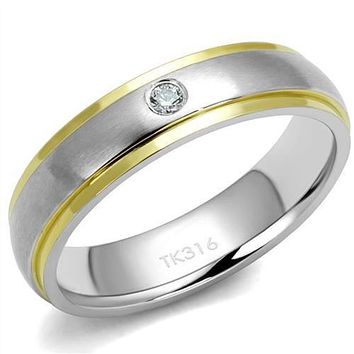 WildKlass Stainless Steel Ring Two-Tone IP Gold (Ion Plating) Men AAA Grade CZ Clear