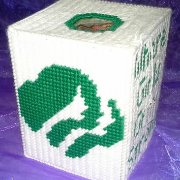 Girl Scouts Tissue Box Cover, Girl Scouts of America, Boutique Tissue Box Cover, Girl Scout Cookies, Box Cover, Green and White, Room Decor