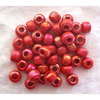 25 9mm glass pony beads - opaque red / orange luster roller beads - large approx 4mm big hole bead - Made in India - C5501