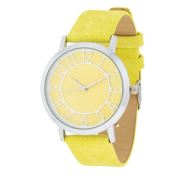 Fashion Accessories Silver Watch  With Leather Strap YELLOW