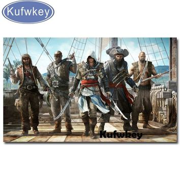 3D diy Diamond Painting Cross Stitch Crystal Needlework full Diamond Embroidery Assassin Creed 4 home decoration wall stickers