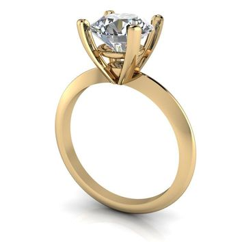 Russian Brilliants High Set 14 kt Gold Solitaire Engagement Ring - Choose Your Center Stone