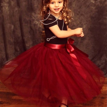Girls Cranberry Maroon Tulle Skirt