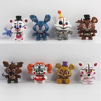 8pcs/set  At Anime Figurines Vinyl Doll 5cm PVC  Foxy Freddy Chica Nendoroid Mini Figures Toys for Kids