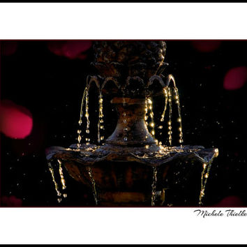 Water Fountain Photography water drops,black background,fuchsia,fountain at night,dramatic art,pink,hot pink,fountain in sunset,unique decor