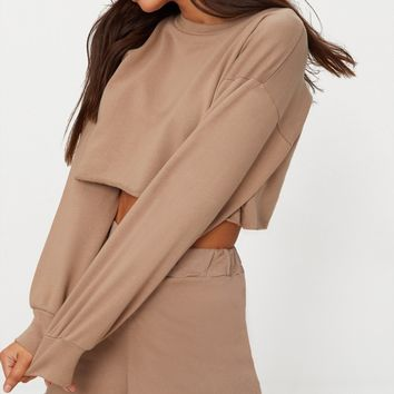 Petite Stone Raw Edge Cropped Sweater
