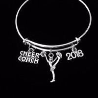 Cheer Coach Cheerleader Expandable Silver Charm Bracelet Adjustable Bangle Gift