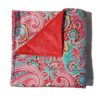 Pink Paisley, Minky and Cuddle Blanket, Minky Receiving Blanket, Flannel Receiving Blanket, Minky and Flannel, 42 x 42