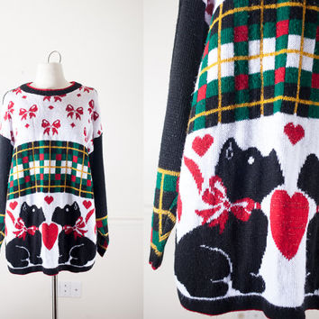 Tacky Xmas Sweater | Scottie Dog Sweater Ugly Christmas Sweater Novelty Sweater Holiday Jumper 80s Sweater Oversized Sweater Plaid Sweater