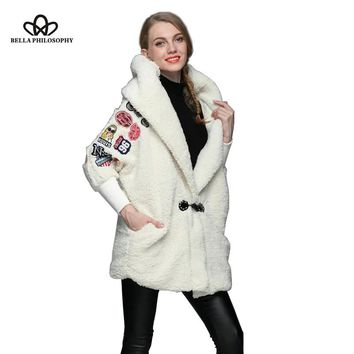 Bella Philosophy 2018 autumn winter coat faux Lamb fur collar  coat  White With fur hat long sleeve jacket