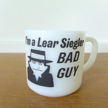 Vintage Lear Siegler Bad Guy milk glass mug