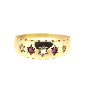 Victorian Chester Hallmark Ruby and Diamond Ring / Ruby Diamond Star Ring / Antique Diamond Ring / Ruby 15ct Gold Ring
