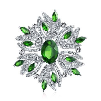 Large Vintage Style Flower Green Brooch Pin Crystal Silver Plated